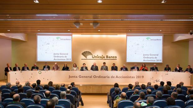 Última junta de accionistas celebrada por Unicaja Banco, el pasado mes de abril