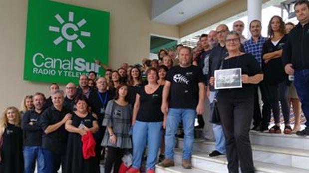Protesta de los trabajadores de Canal Sur, en noviembre pasado