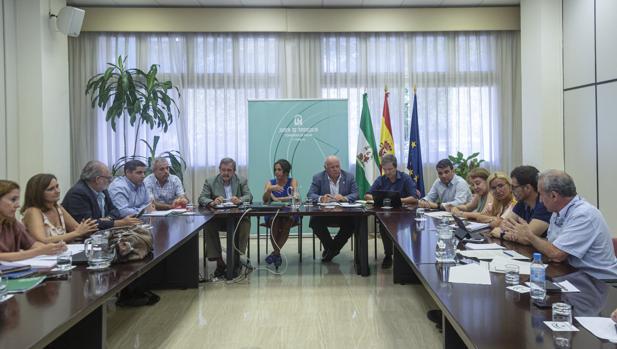 El consejero de Salud y Familias, Jesús Aguirre, durante su reunión con personal ténico
