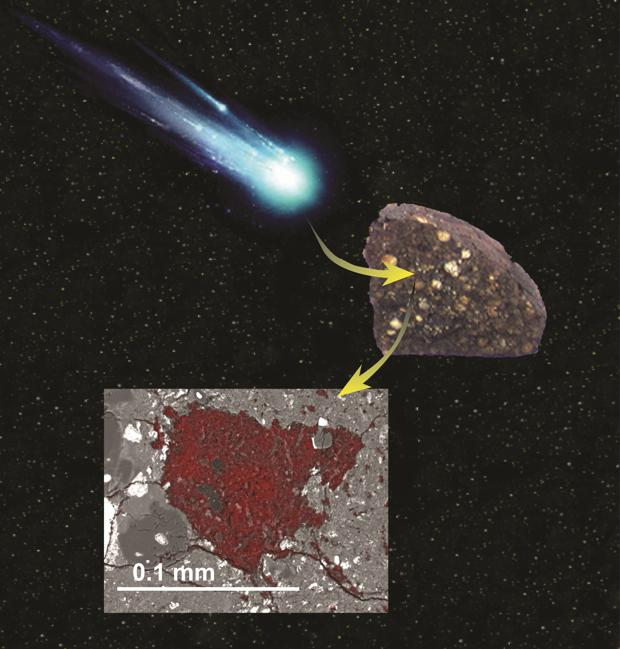 La ilustración que muestra cómo un asteroide se tragó una porción de material de bloques de construcción cometarios y se conservó dentro de un meteorito