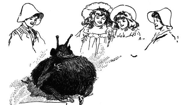 Los niños, sorprendidos ante la aparición del hada Psammead