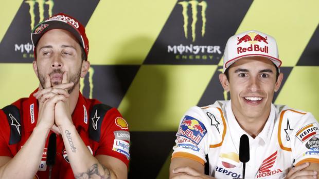 Dovizioso y Márquez, en la rueda de prensa de presentación del Gran Premio de Catalunya