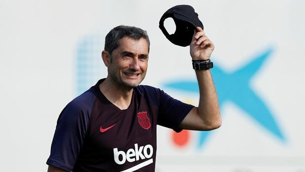 Ernesto Valverde durante un entrenamiento