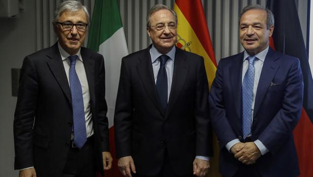 Castelluci (Atlantia), Florentino Pérez (ACS) y Fernández Verdes (Hotchief)