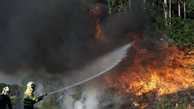 Brigadistas intentando apagar un fuego en un incendio de años anteriores