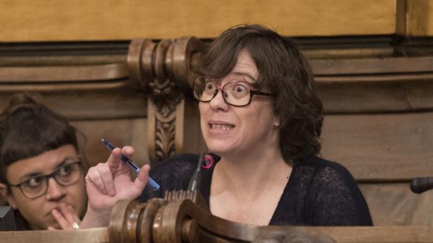 La concejal de la CUP Eulàlia Reguant en un pleno reciente del Ayuntamiento de Barcelona