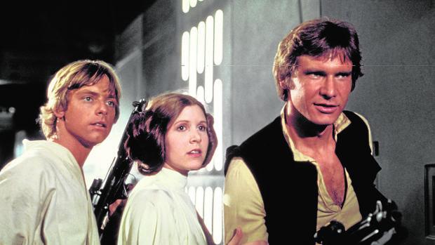 Mark Hamill, Carrie Fisher y Harrison Ford, en una escena de «La Guerra de las Galaxias»
