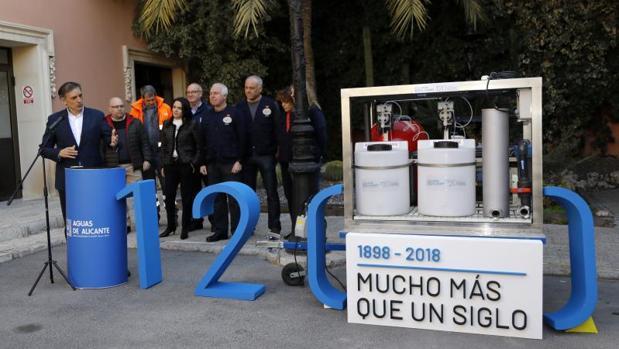 Acto de entrega de la potabilizadora en las instalaciones de Aguas de Alicante
