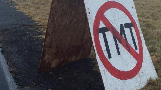 Un cartel contra el TMT en Hawai
