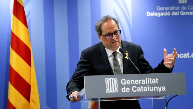 El presidente de la Generaltitat, Quim Torra, valorando la reunión con Sánchez, en Blanquerna