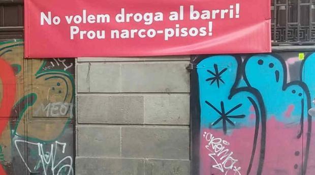 Los vecinos del centro de Barcelona protestas en contra de los narcopisos