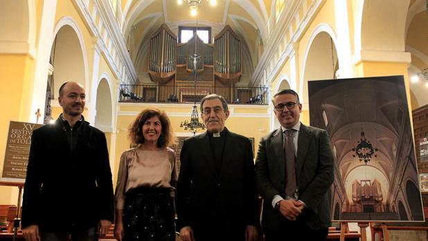 , Juan-José Montero, monseñor Gerardo Ortega y Anastasio Gómez-Hidalgfo en la presentación del Festival de Órganos de Toledo