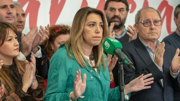 La líder del PSOE-A, Susana Díaz, ayer en rueda de prensa tras el resultado electoral