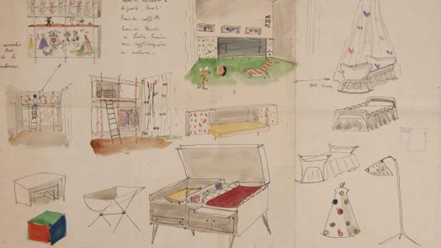 Detalle de uno de los dibujos de Lina Bo Bardi que pueden verse en Barcelona