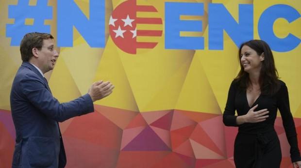 José Luis Martínez-Almeida durante el primer acto con Andrea Levy en Madrid
