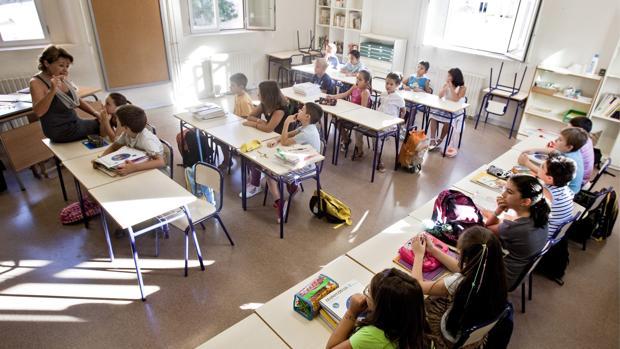 Una aula de un colegio en Valencia