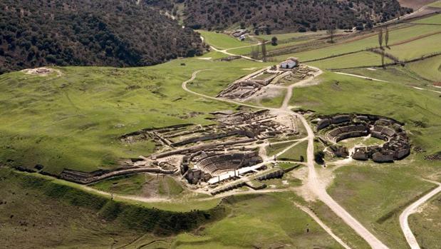 Vista aérea del parque arqueológico de Segóbriga, en Cuenca