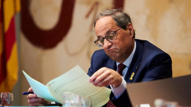 Quim Torra en la reunión semanal del gobierno catalán