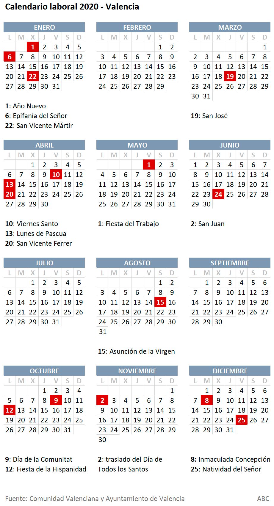 2020 Calendario Laboral.Calendario Laboral De Valencia 2020