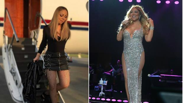 A la izquierda Mariah Carey hace unos días. A la derecha Mariah Carey a principios del mes de julio
