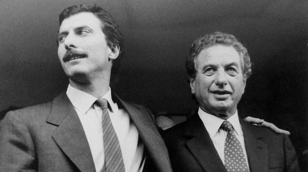 Franco Macri junto a su hijo, Mauricio Macri, en 1991