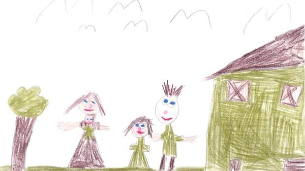 Un dibujo de una familia