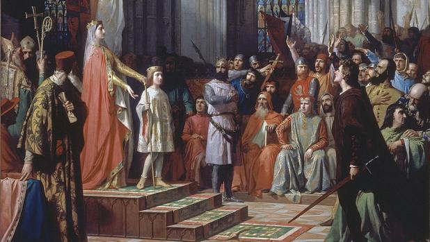 María de Molina presenta a su hijo Fernando IV de Castilla en las Cortes de Valladolid de 1295.