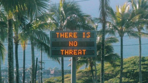 Una señal avisaba en Oahu (Hawái) que «no hay ninguna amenaza», después de que por error el sábado saltara la alarma nuclear