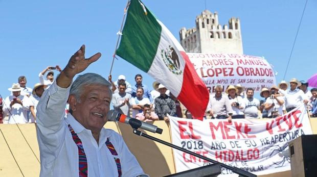 El candidato izquierdista a la Presidencia de México, Andrés Manuel López Obrador, durante un mitin en el estado de Hidalgo