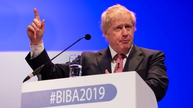Boris Johnson, este jueves en un encuentro empresarial en Mánchester, donde confirmó su candidatura