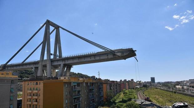 Así quedó el puente Morandi de Génova tras el derrumbe el 14 de agosto de 2018