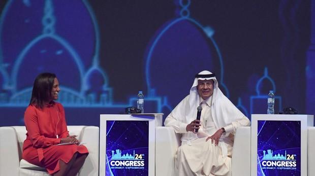 El Príncipe Abdulaziz bin Salman, ayer durante la inauguración del Congreso mundial de Energía en Abu Dhabi