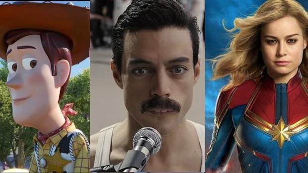 Toy Story (Pixar), Bohemian Rhapsody (Fox) y Capitana Marvel, todas bajo el dominio de Disney