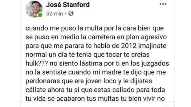 Pantallazo del comentario donde se alegra de la muerte del Guardia Civil de Los Barrios