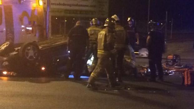 Imagen del accidente de Espartinas en el que falleció un joven