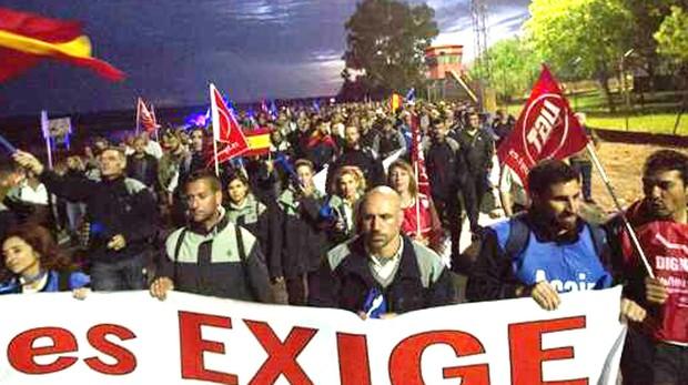 Manifestación de los funcionarios ante la cárcel portuense.