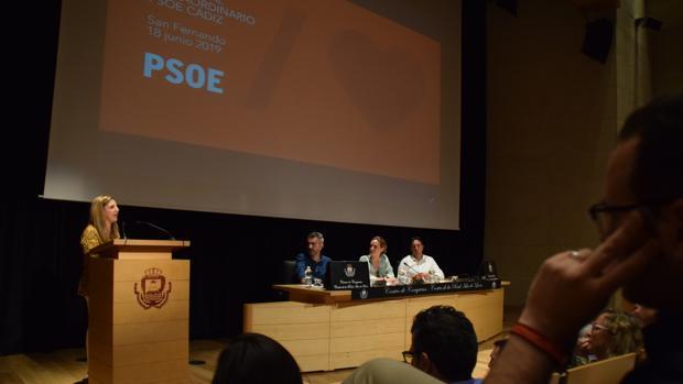 Irene García durante su intervención en el comité extraordinario del PSOE.