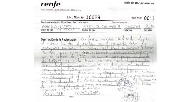 Reclamación presentada por Alejandro M. en la ventanilla de Atención al Cliente