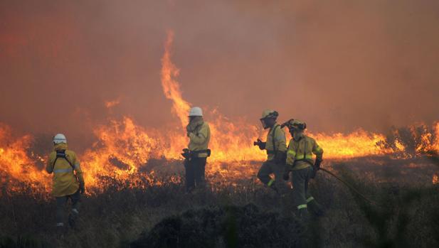 Imagen de archivo de bomberos sofocando un incendio.