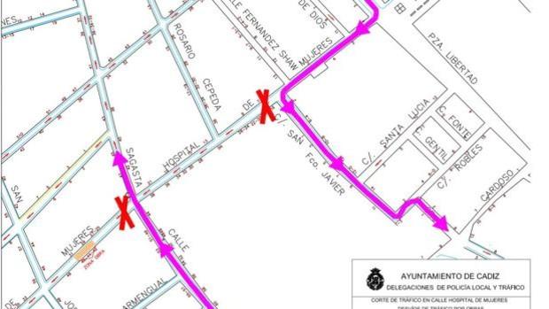 El tráfico de la calle Hospital de Mujeres se cortará en un tramo a partir del lunes para obras de soterramiento de cableado