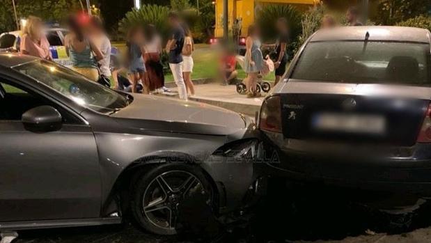 Imagen del choque de vehículos tras el accidente