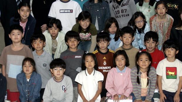 Alumnos de un colegio japonés